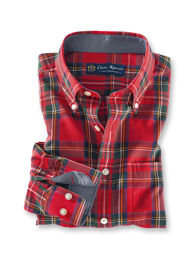 Winterhemd im 'Royal Stewart'-Tartan in Tailored Fit