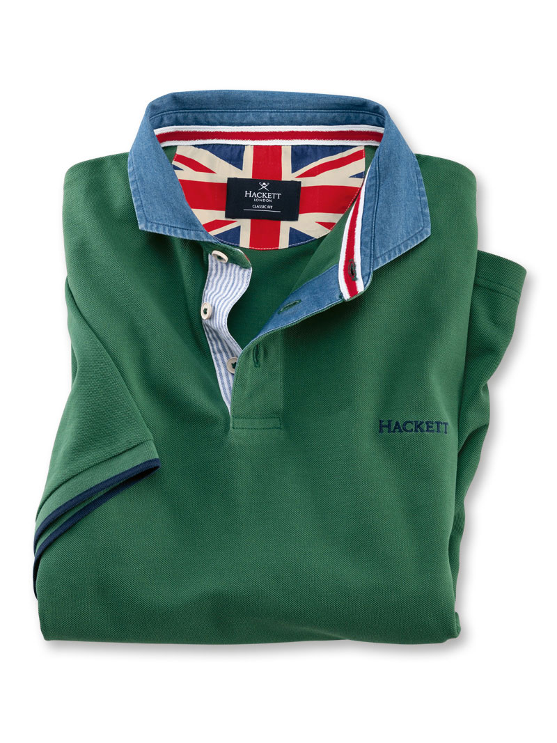 Hackett-Polo 'Union Jack' mit Jeans-Kragen in Racing Green