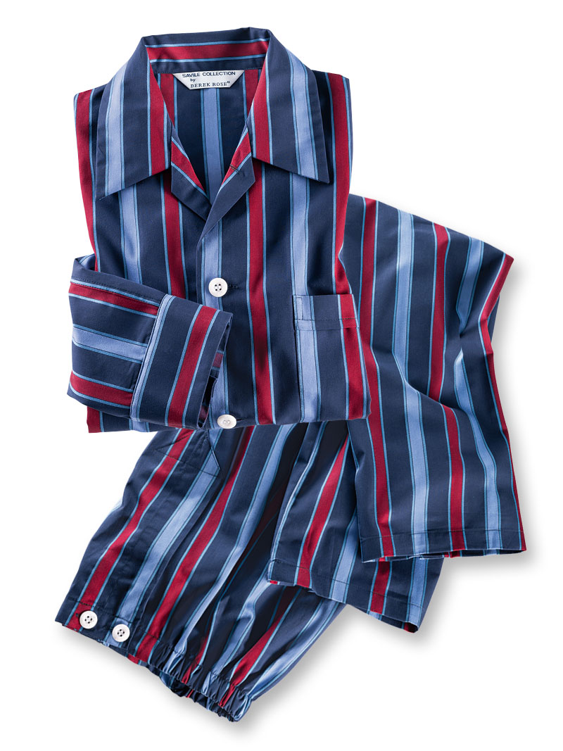 Regimental-Pyjama in Navy von Derek Rose