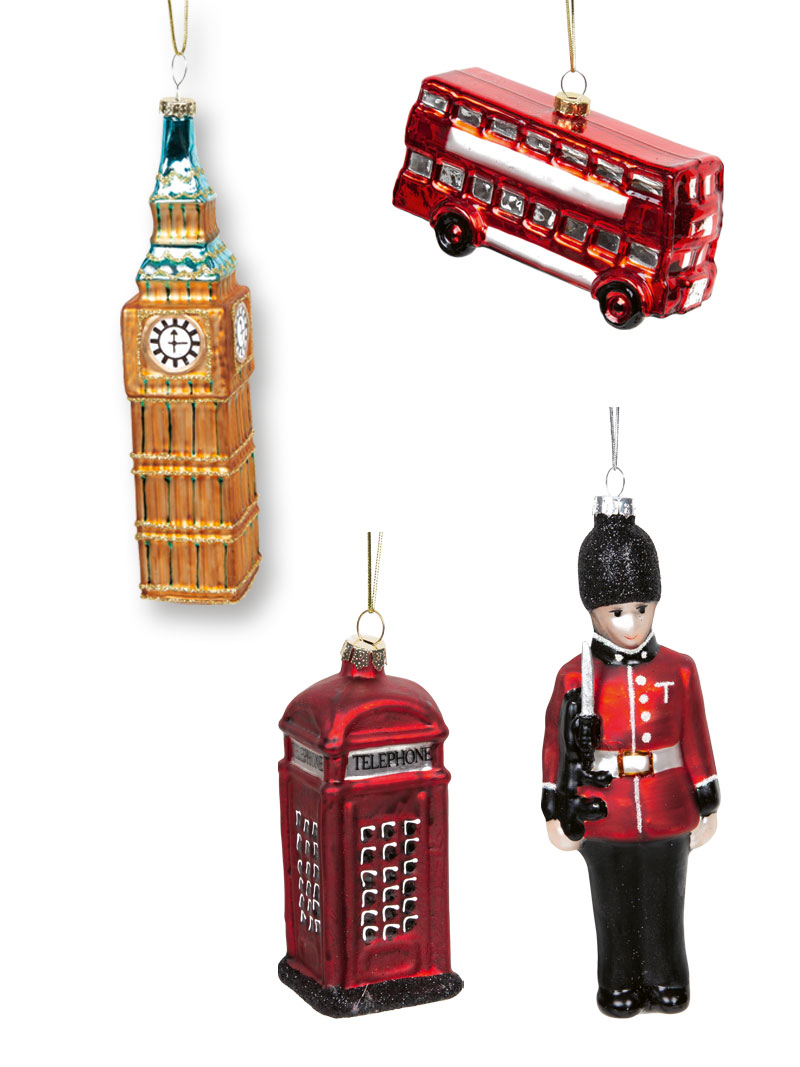 Christbaumschmuck Big Ben - London Bus - Telephone Box