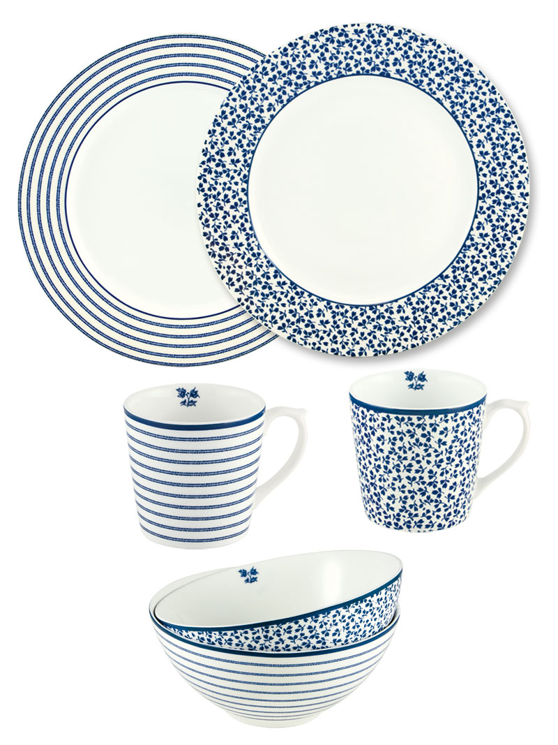 Porzellanset 'Blueprint' designed by Laura Ashley