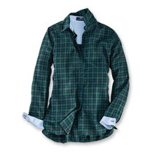 Herringbone-Bluse im 'Black Watch'-Tartan