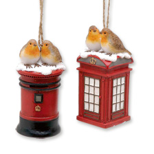 Christbaumanhänger 'Robins on Post & Phone Box'