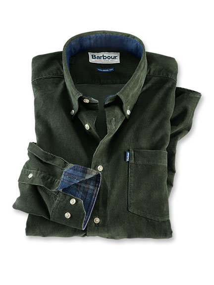 Feincordhemd 'Morris' in Forest Green von Barbour