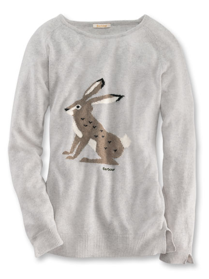 Intarsien-Pullover 'Mr. Rabbit' in Light Grey Marl