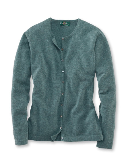 Cardigan aus Geelong-Lambswool in Salbei von Alan Paine