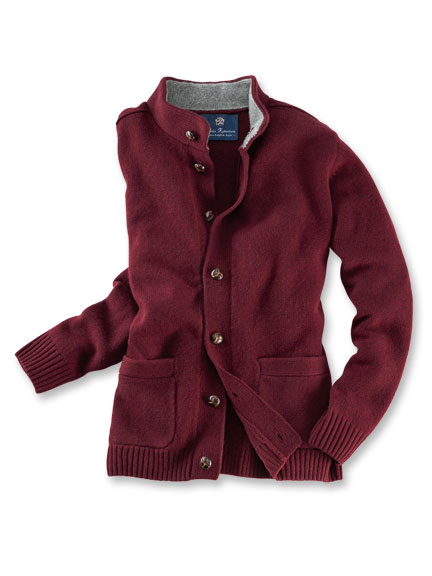 Country-Cardigan aus warmer Lambswool in Dark Red