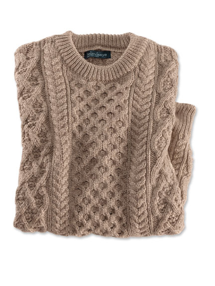 Aran-Pullover in Camel von Irelands Eye