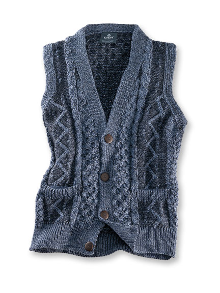 Strickweste in Denim von Aran Woollen Mills