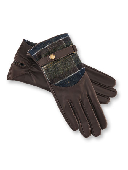 Barbour-Handschuhe im Leder-Wolle-Mix in Braun