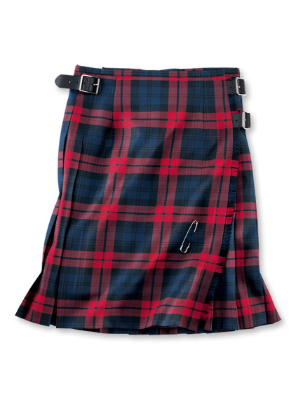 Midi-Kilt 'Lindsey' in Navy und Red von O'Neil of Dublin