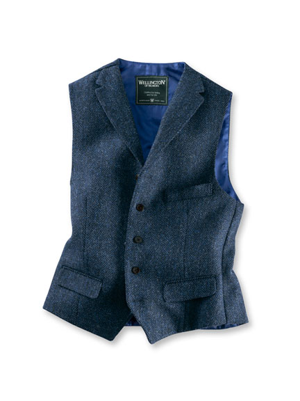 Harris-Tweed-Weste in Blau von Wellington of Bilmore