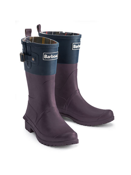 Barbour Gummistiefel in Plum und Navy